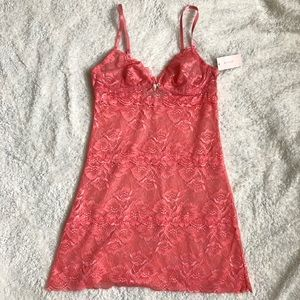 NWT Sexy Pink Lace Chemise